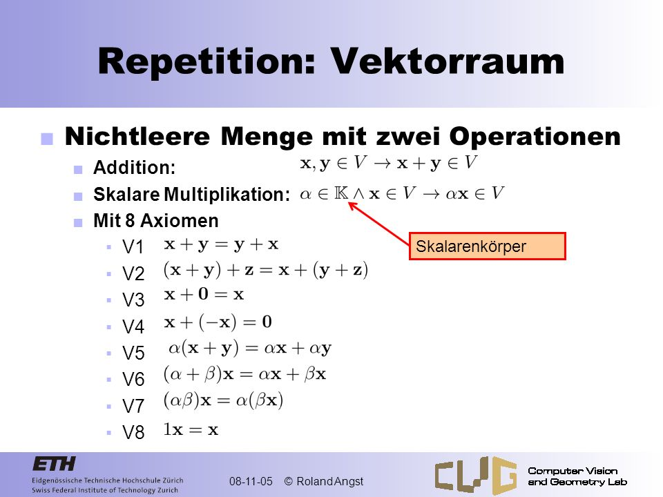 Repetition: Vektorraum