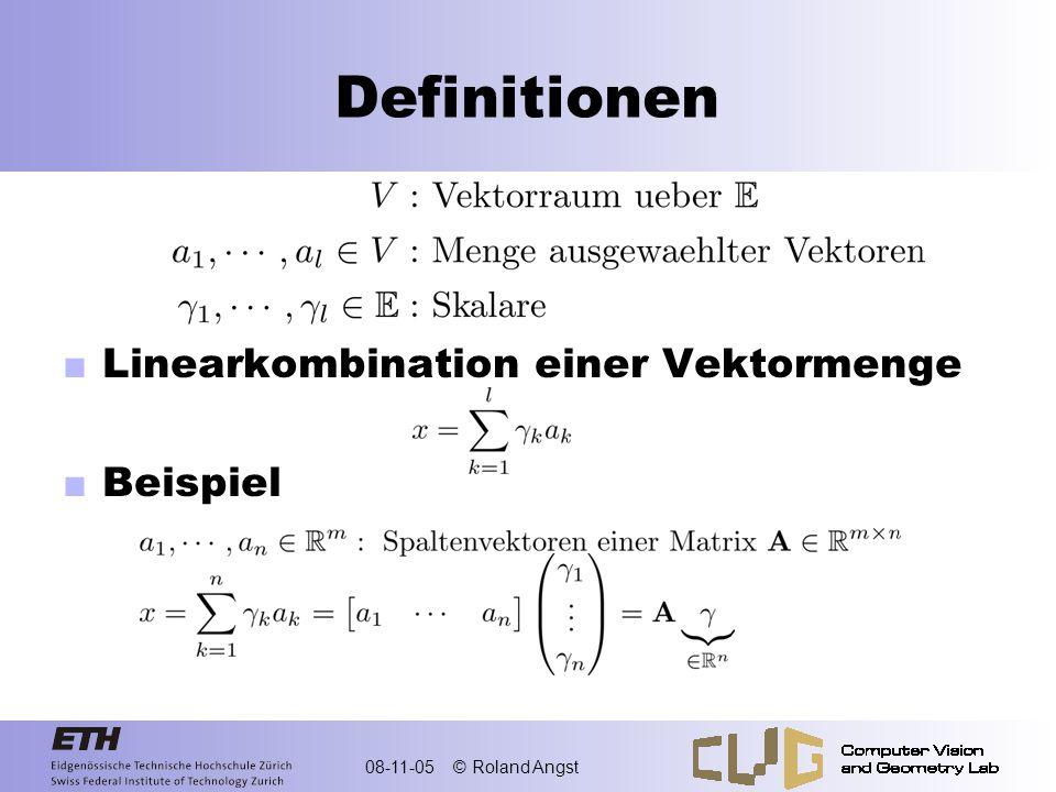 Definitionen Linearkombination einer Vektormenge Beispiel