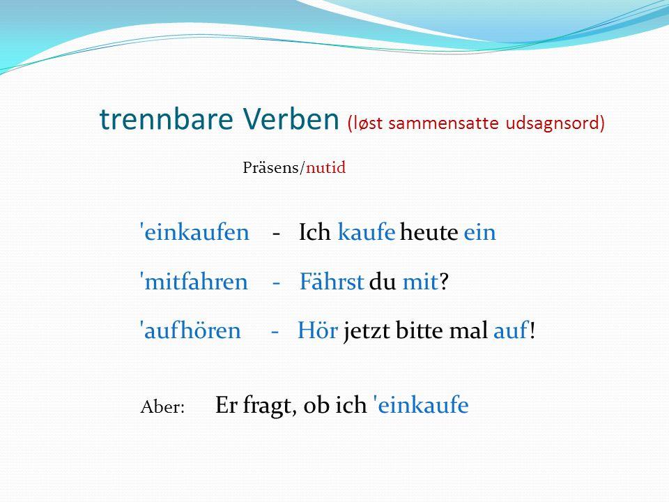trennbare Verben (løst sammensatte udsagnsord)