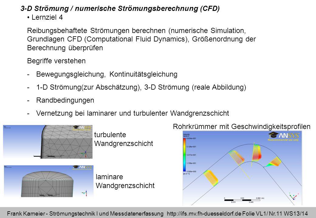 3-D Strömung / numerische Strömungsberechnung (CFD)
