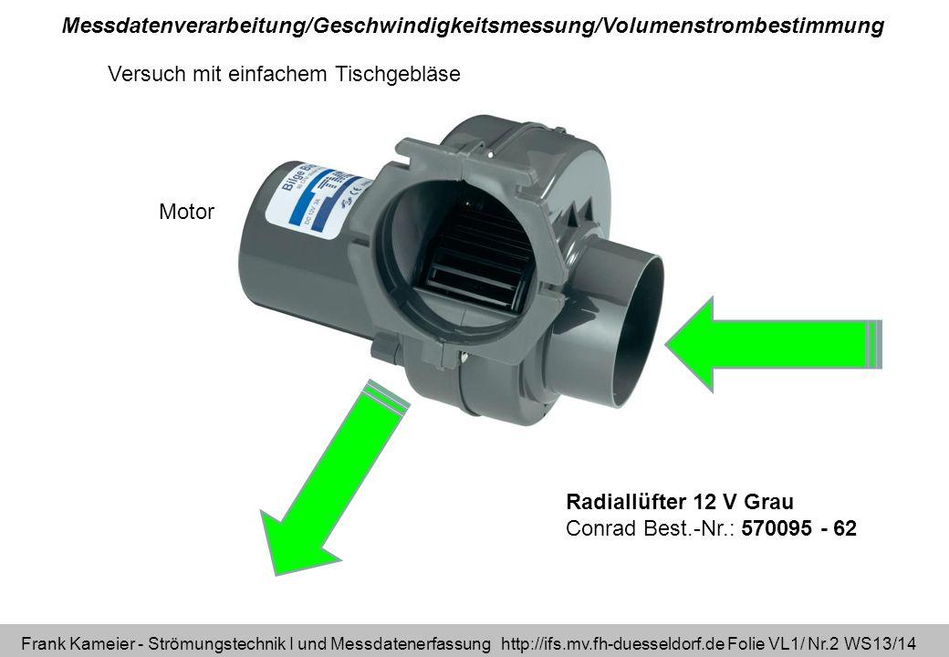 Messdatenverarbeitung/Geschwindigkeitsmessung/Volumenstrombestimmung