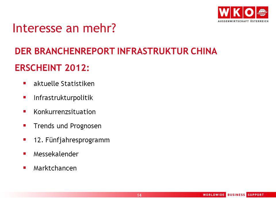 Interesse an mehr DER BRANCHENREPORT INFRASTRUKTUR CHINA ERSCHEINT 2012: aktuelle Statistiken. Infrastrukturpolitik.