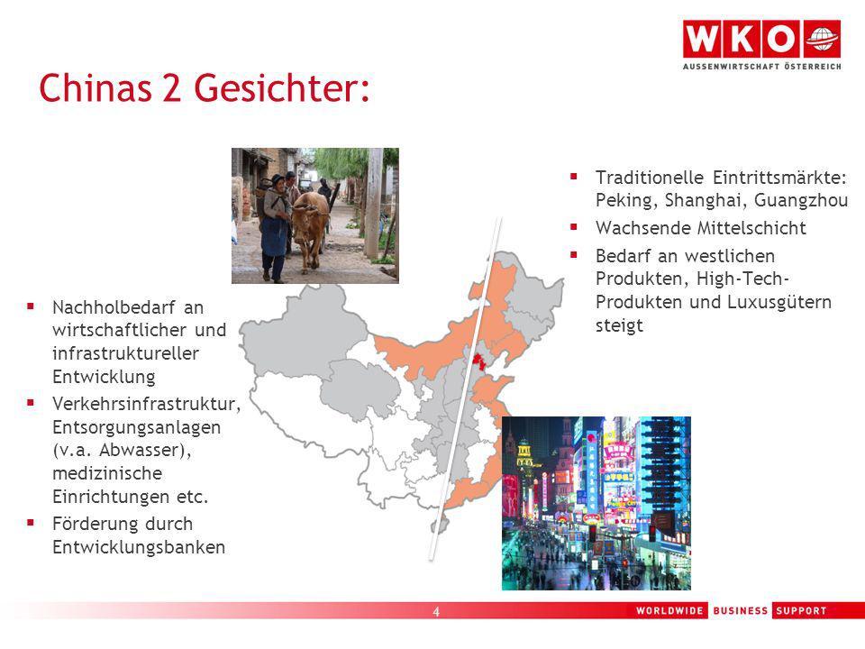 Chinas 2 Gesichter: Traditionelle Eintrittsmärkte: Peking, Shanghai, Guangzhou. Wachsende Mittelschicht.