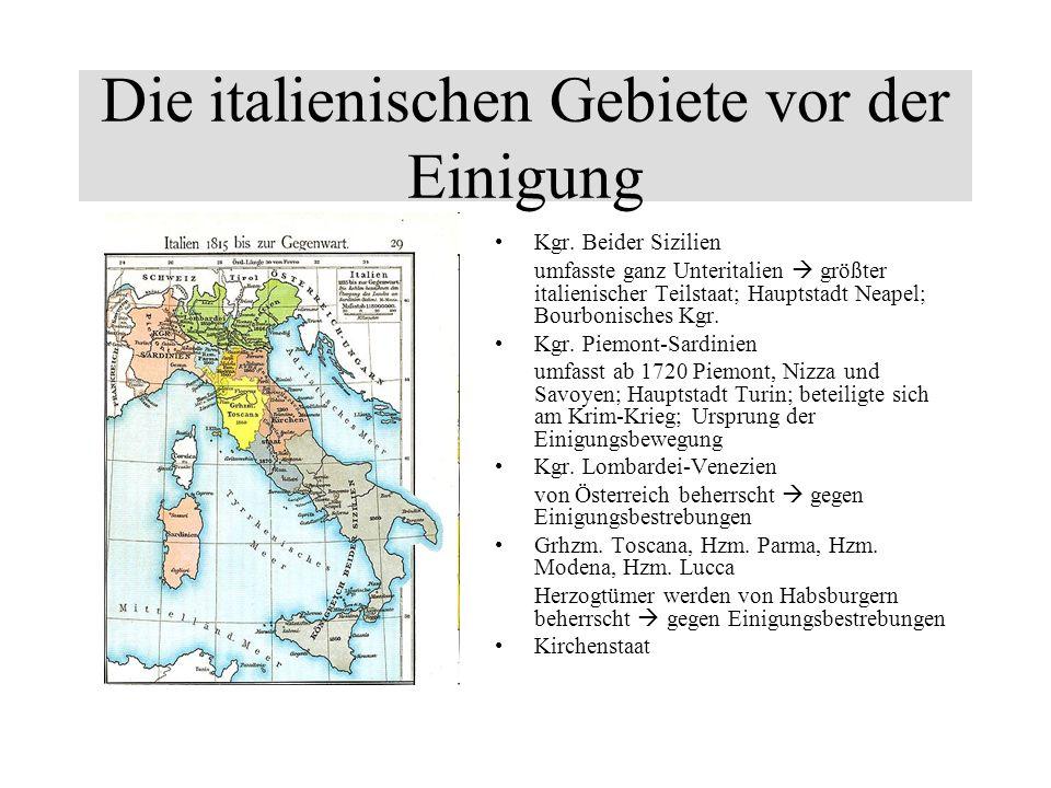 Die italienischen Gebiete vor der Einigung
