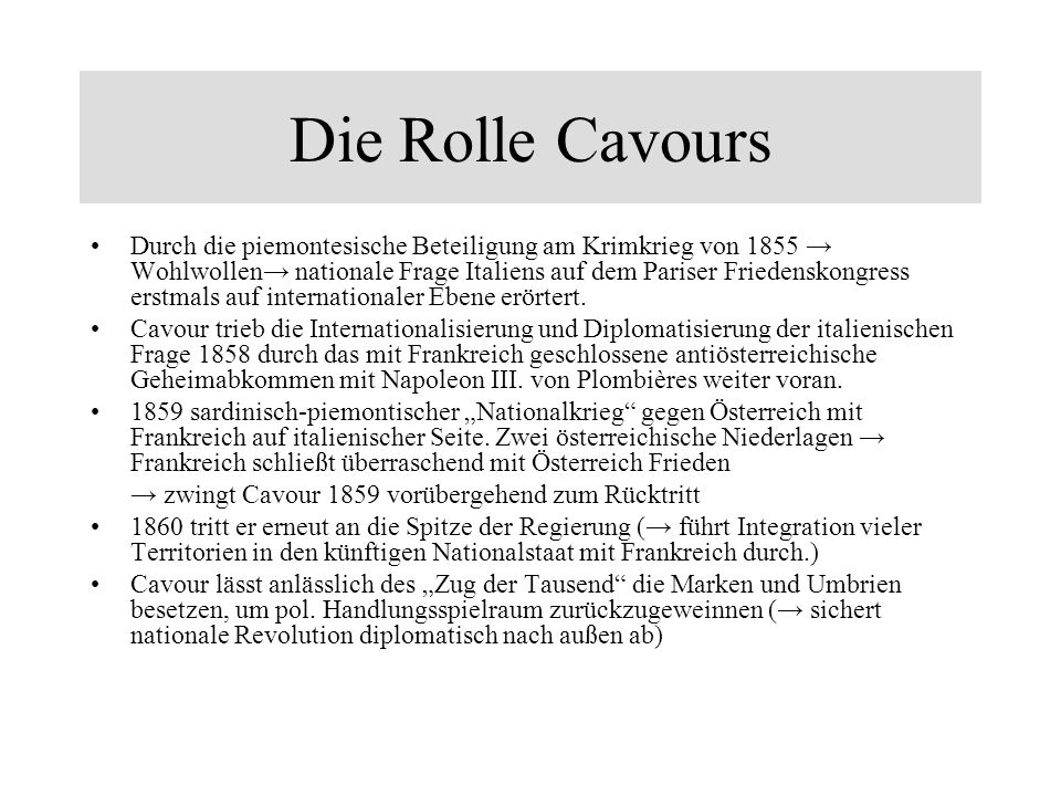 Die Rolle Cavours