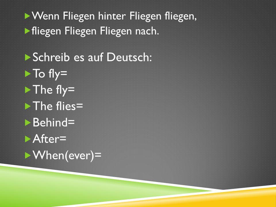 Schreib es auf Deutsch: To fly= The fly= The flies= Behind= After=