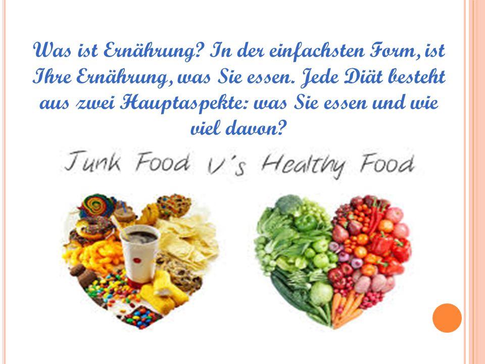 Was ist Ernährung. In der einfachsten Form, ist Ihre Ernährung, was Sie essen.