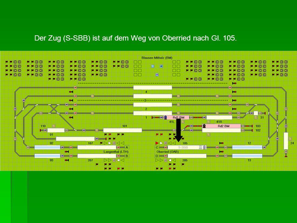 Der Zug (S-SBB) ist auf dem Weg von Oberried nach Gl. 105.