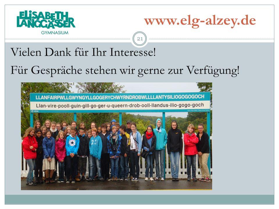 www.elg-alzey.de Vielen Dank für Ihr Interesse! Für Gespräche stehen wir gerne zur Verfügung!