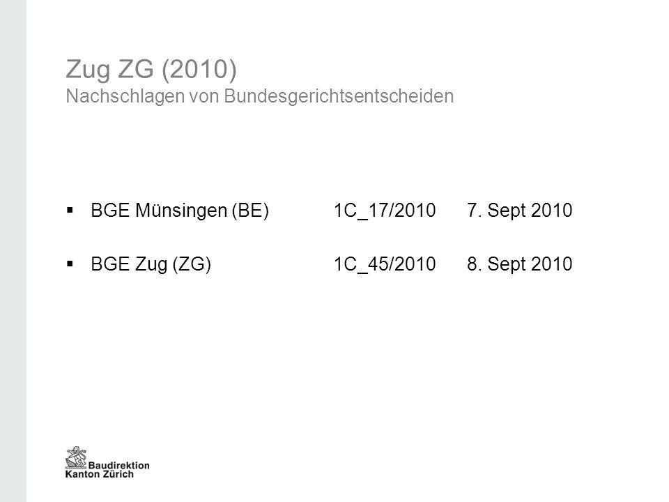 Zug ZG (2010) Nachschlagen von Bundesgerichtsentscheiden
