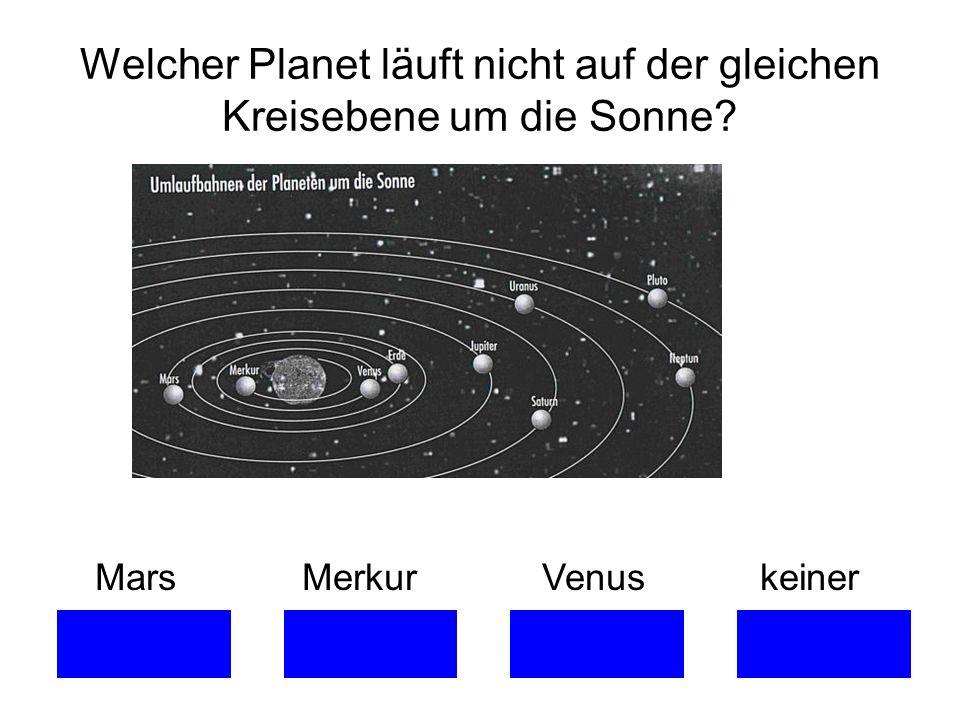 Welcher Planet läuft nicht auf der gleichen Kreisebene um die Sonne