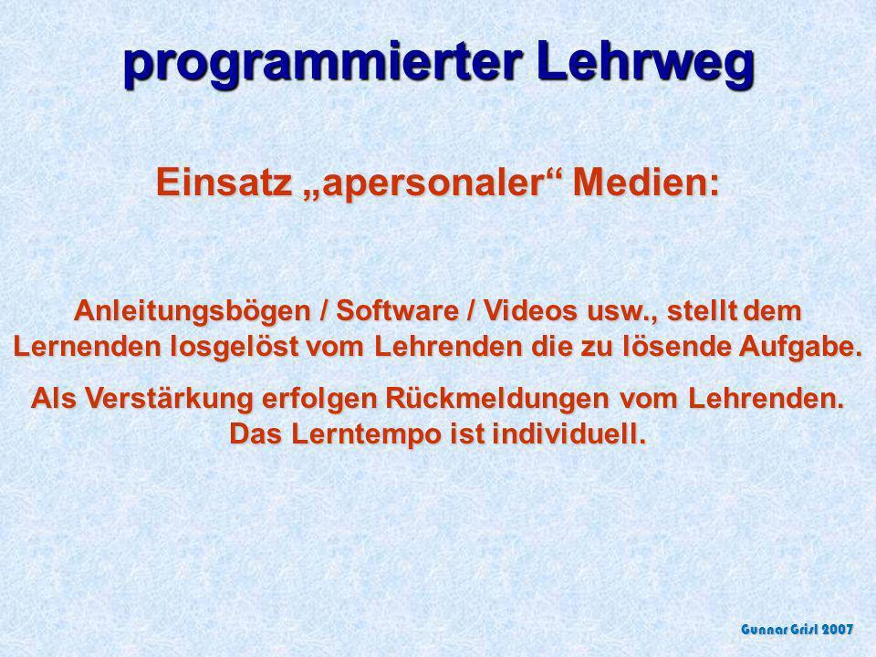 """programmierter Lehrweg Einsatz """"apersonaler Medien:"""