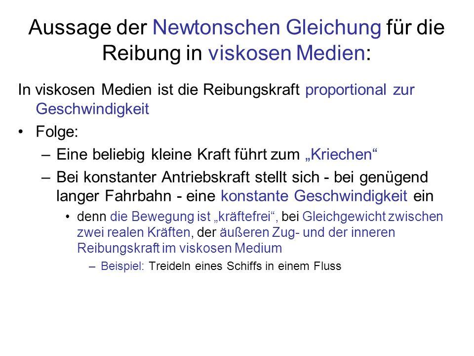 Aussage der Newtonschen Gleichung für die Reibung in viskosen Medien: