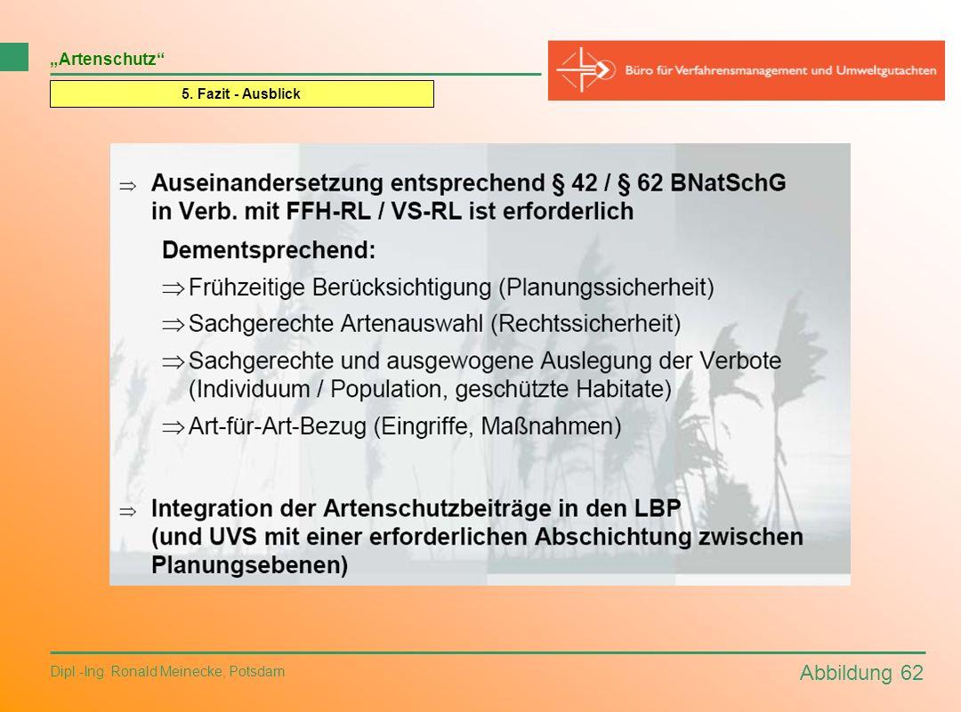 """Abbildung 62 """"Artenschutz 5. Fazit - Ausblick"""