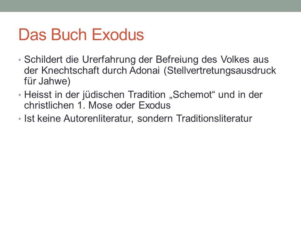 Das Buch Exodus Schildert die Urerfahrung der Befreiung des Volkes aus der Knechtschaft durch Adonai (Stellvertretungsausdruck für Jahwe)
