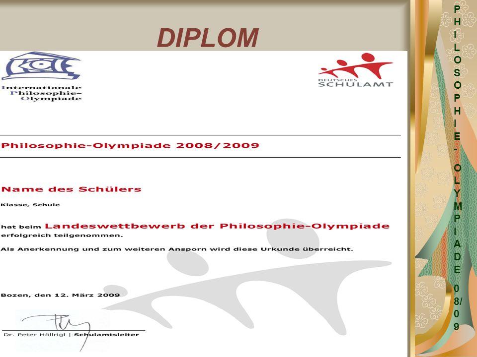 PHILOSOPHIE- OLYMPIADE 08/09 DIPLOM