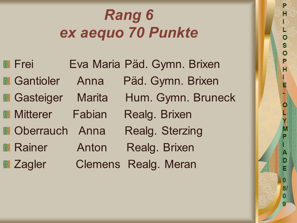 Rang 6 ex aequo 70 Punkte Frei Eva Maria Päd. Gymn. Brixen