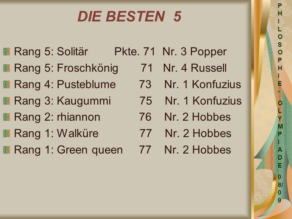 DIE BESTEN 5 Rang 5: Solitär Pkte. 71 Nr. 3 Popper