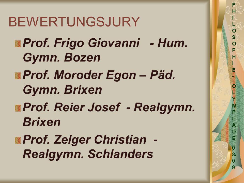 BEWERTUNGSJURY Prof. Frigo Giovanni - Hum. Gymn. Bozen