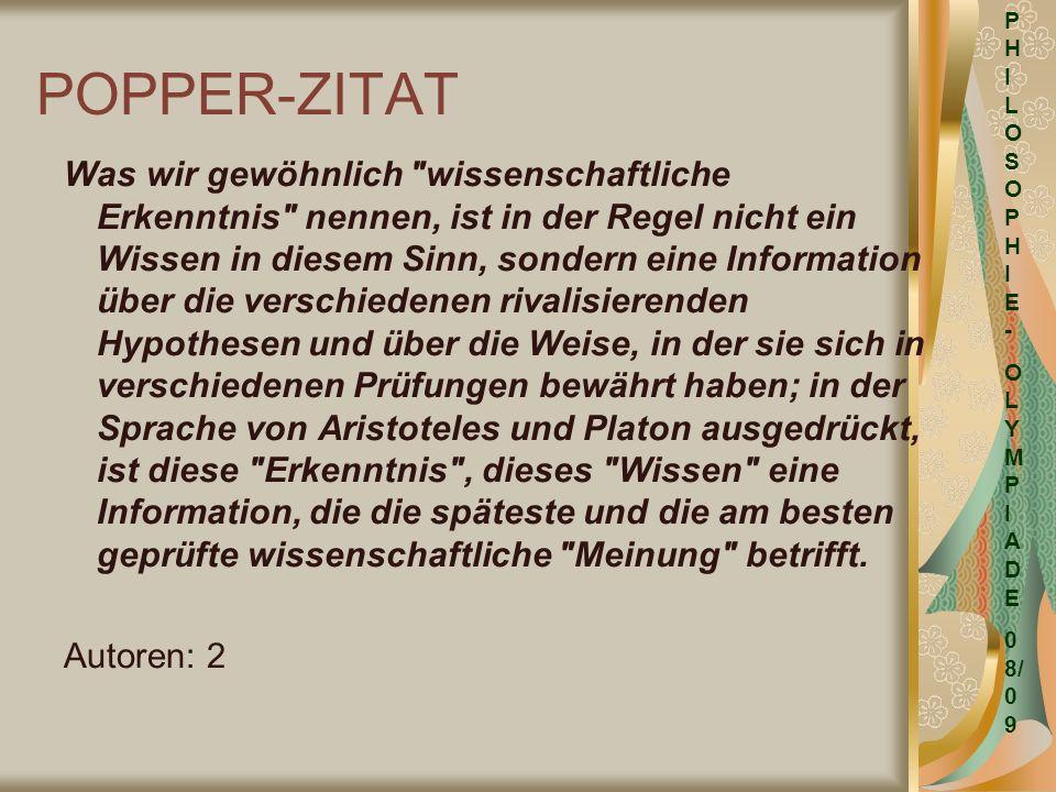 PHILOSOPHIE- OLYMPIADE. 08/09. POPPER-ZITAT.