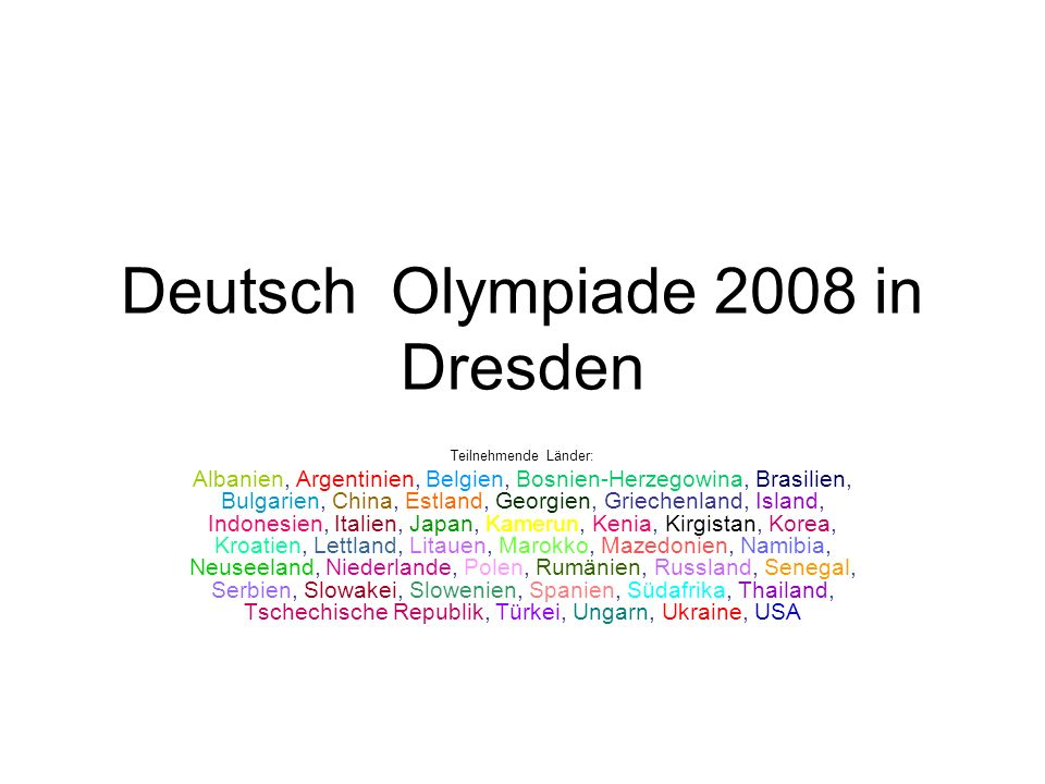 Deutsch Olympiade 2008 in Dresden