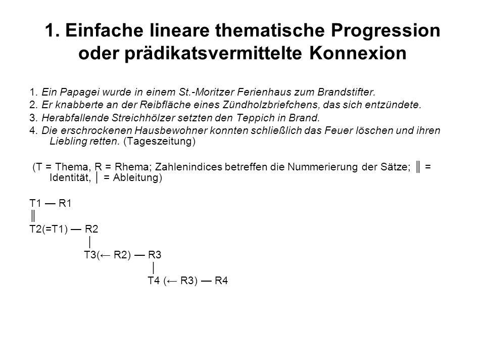 1. Einfache lineare thematische Progression oder prädikatsvermittelte Konnexion