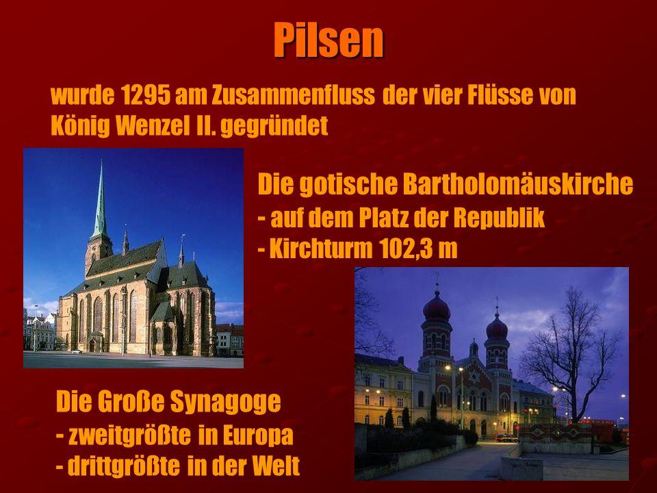 Pilsen Die gotische Bartholomäuskirche - auf dem Platz der Republik