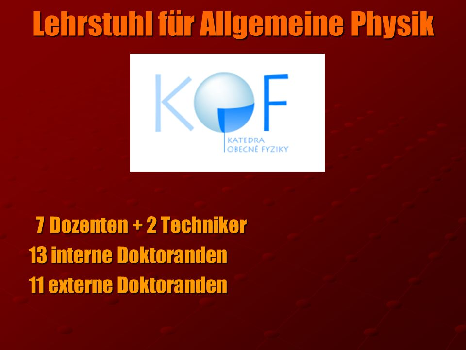 Lehrstuhl für Allgemeine Physik