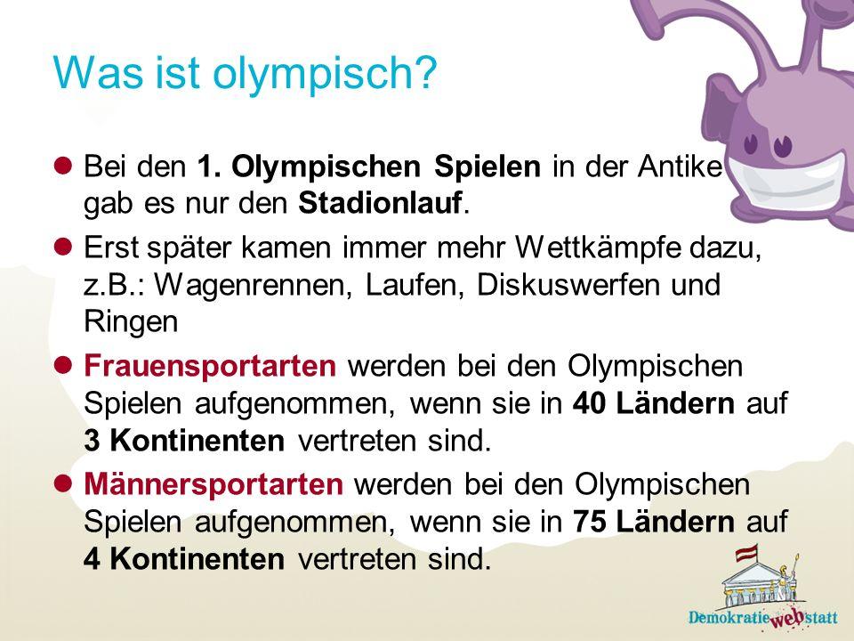 Was ist olympisch Bei den 1. Olympischen Spielen in der Antike gab es nur den Stadionlauf.