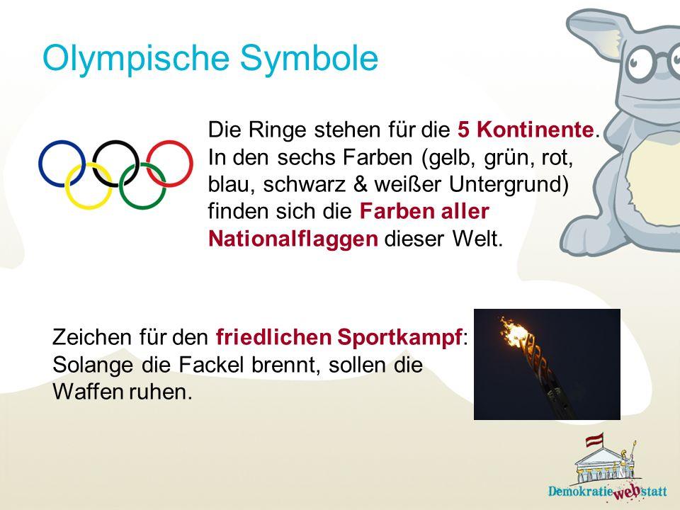 Olympische Symbole Die Ringe stehen für die 5 Kontinente.