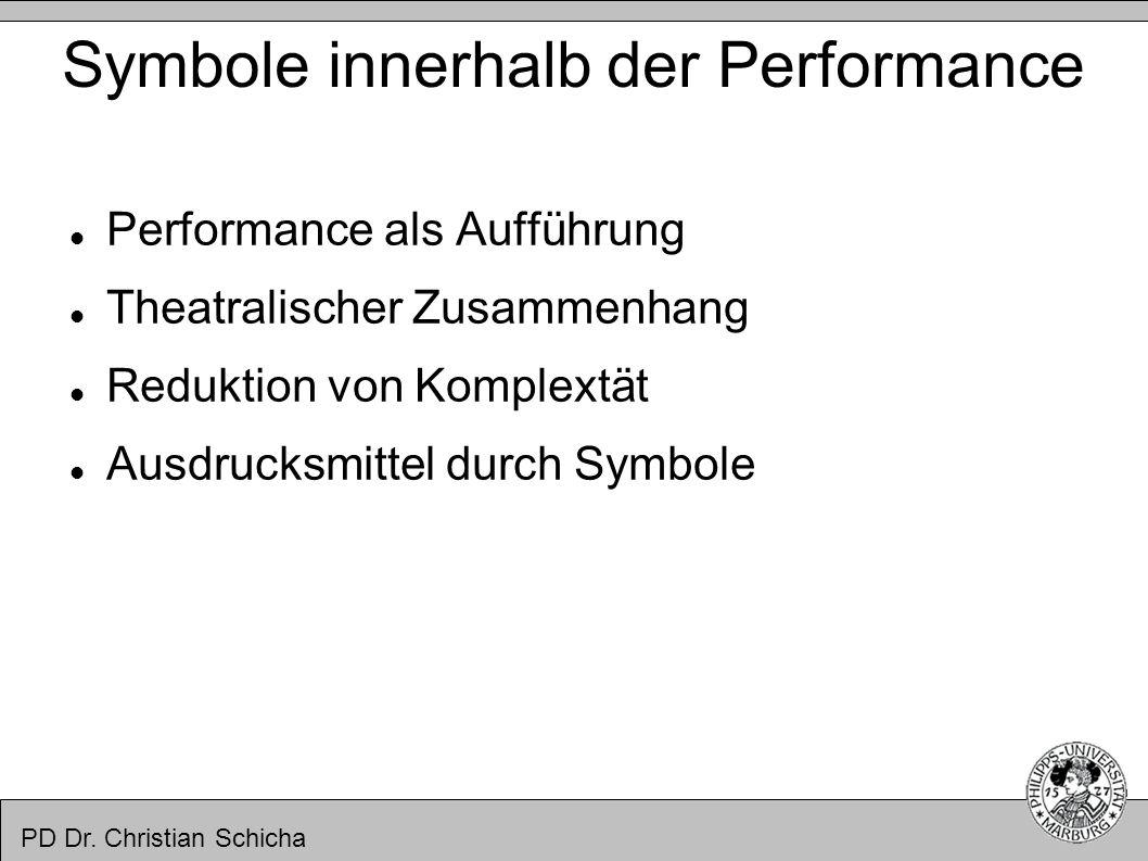Symbole innerhalb der Performance