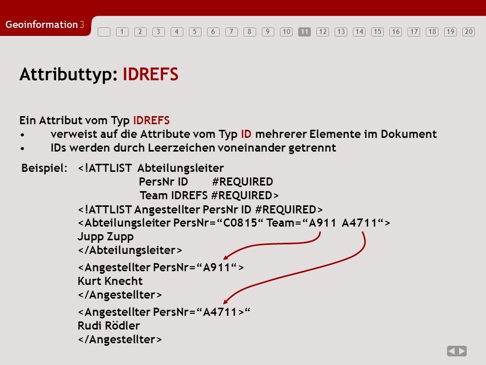 Attributtyp: IDREFS Ein Attribut vom Typ IDREFS