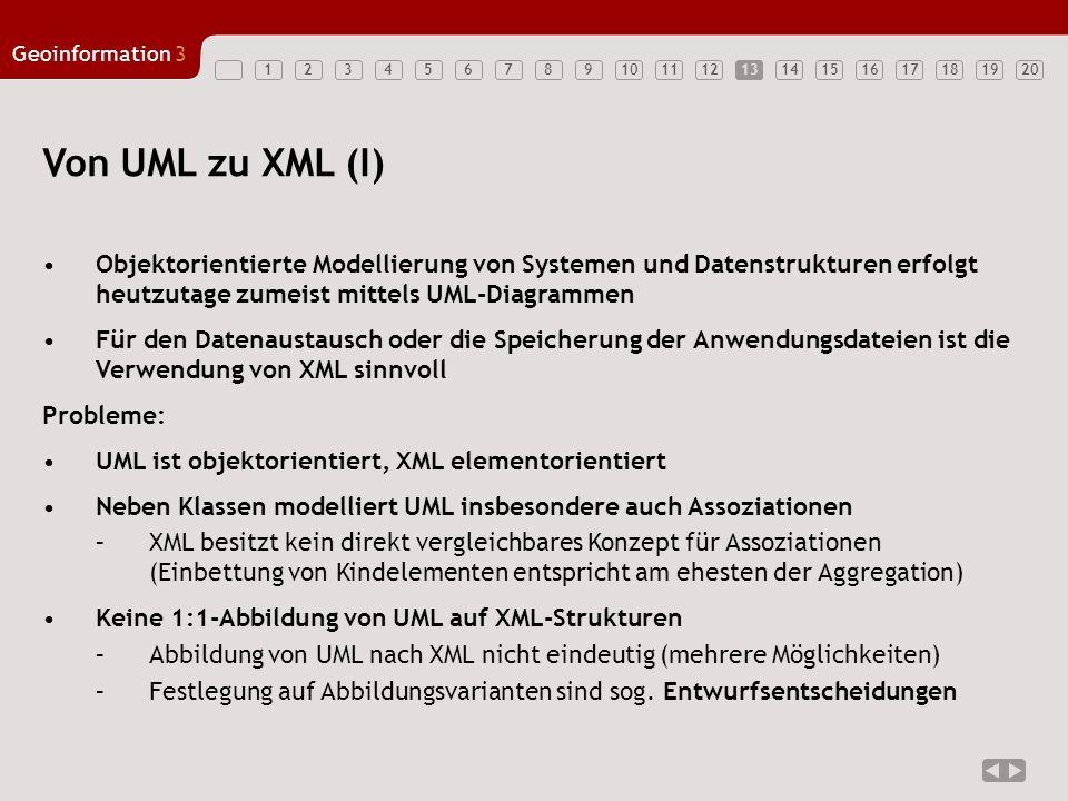 13 Von UML zu XML (I) Objektorientierte Modellierung von Systemen und Datenstrukturen erfolgt heutzutage zumeist mittels UML-Diagrammen.