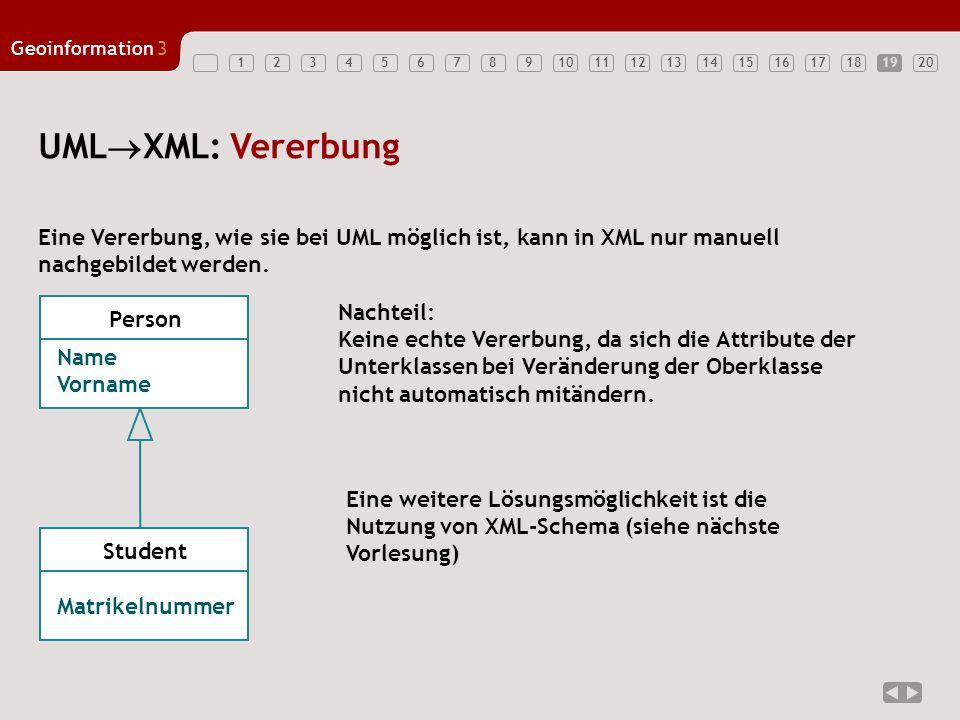 19 UMLXML: Vererbung. Eine Vererbung, wie sie bei UML möglich ist, kann in XML nur manuell. nachgebildet werden.
