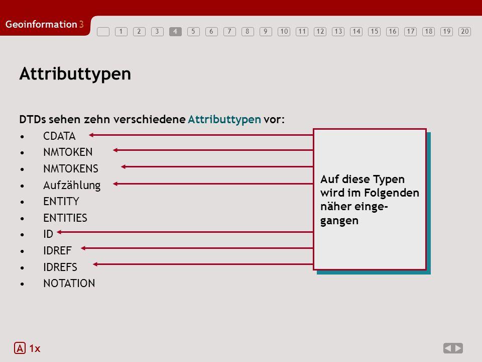 Attributtypen DTDs sehen zehn verschiedene Attributtypen vor: CDATA