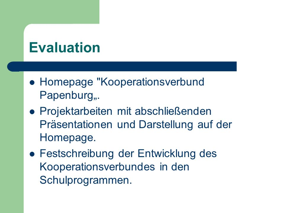 "Evaluation Homepage Kooperationsverbund Papenburg""."