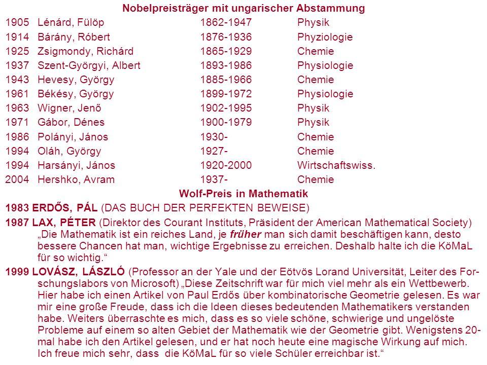 Nobelpreisträger mit ungarischer Abstammung Wolf-Preis in Mathematik