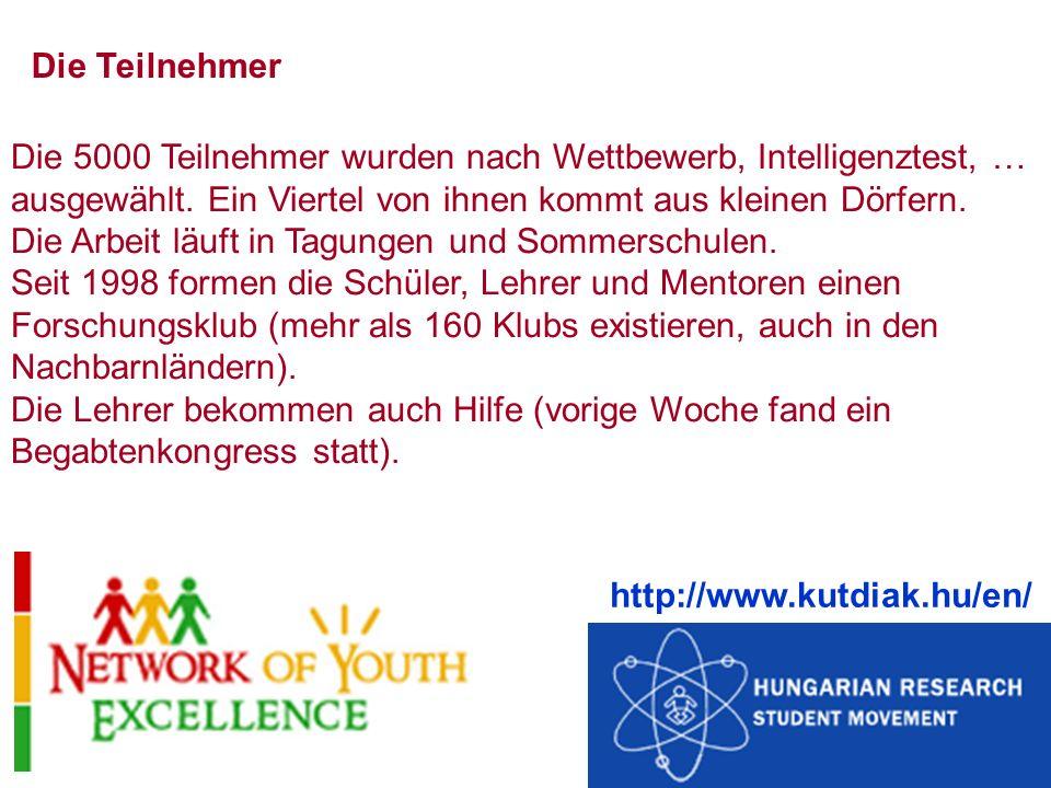 Die Teilnehmer Die 5000 Teilnehmer wurden nach Wettbewerb, Intelligenztest, … ausgewählt. Ein Viertel von ihnen kommt aus kleinen Dörfern.