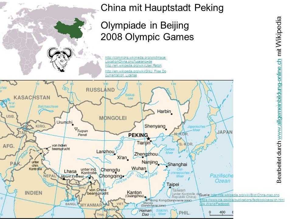 China mit Hauptstadt Peking Olympiade in Beijing 2008 Olympic Games