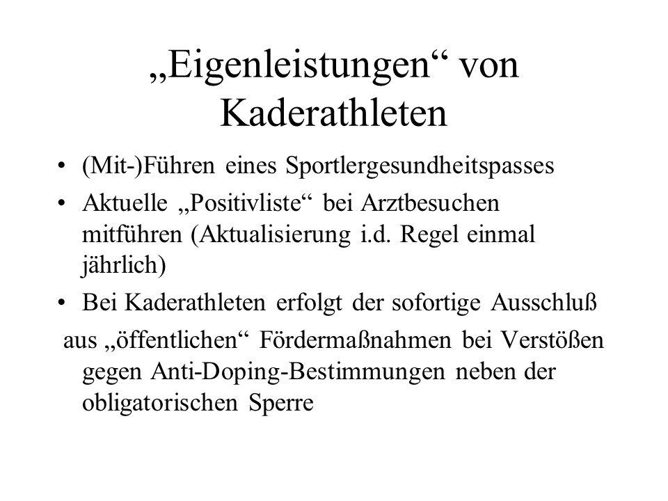 """""""Eigenleistungen von Kaderathleten"""