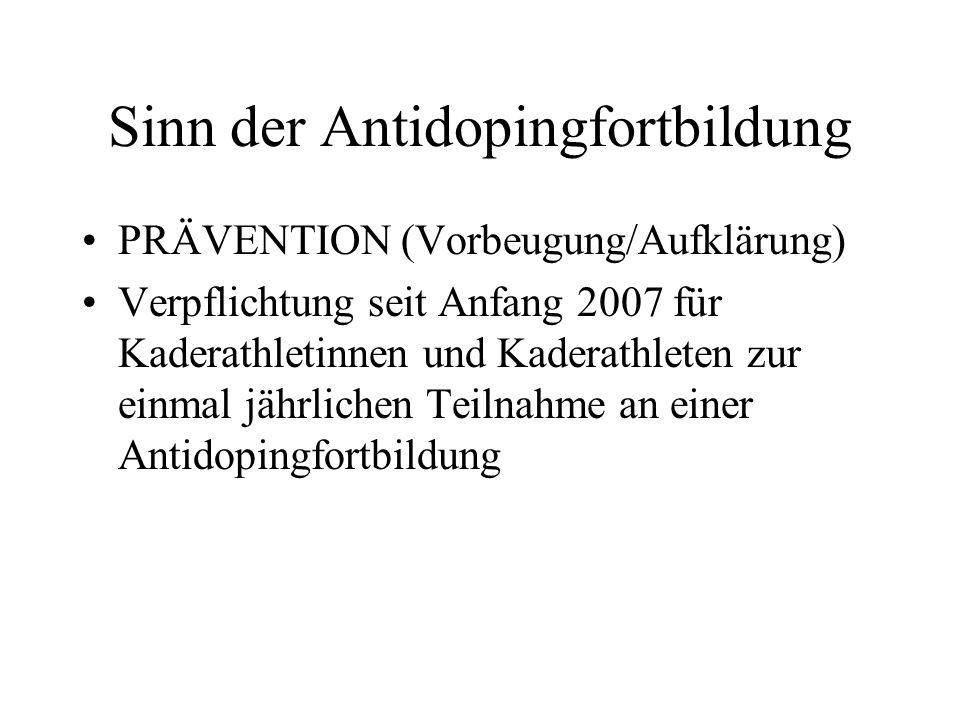 Sinn der Antidopingfortbildung