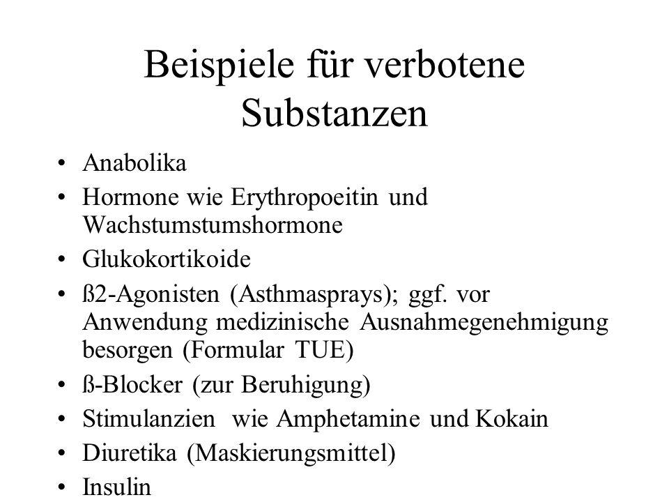 Beispiele für verbotene Substanzen