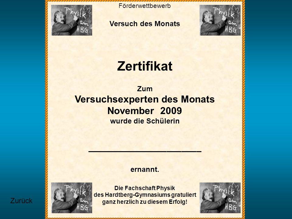Zertifikat Versuchsexperten des Monats November 2009