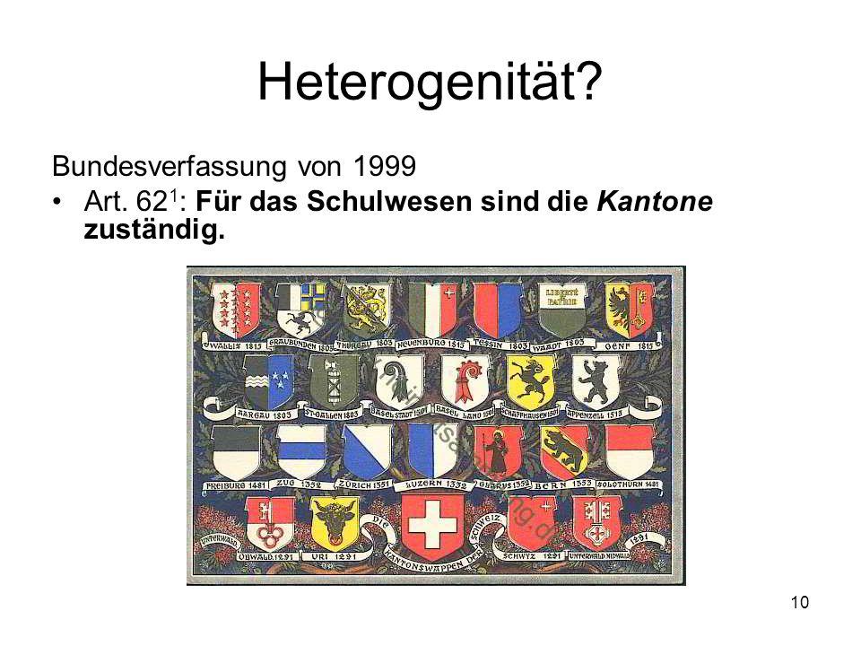 Heterogenität Bundesverfassung von 1999