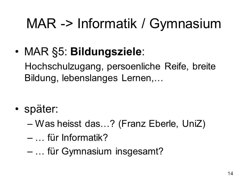 MAR -> Informatik / Gymnasium