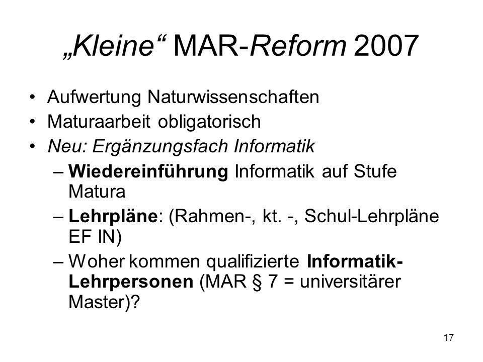 """""""Kleine MAR-Reform 2007 Aufwertung Naturwissenschaften"""