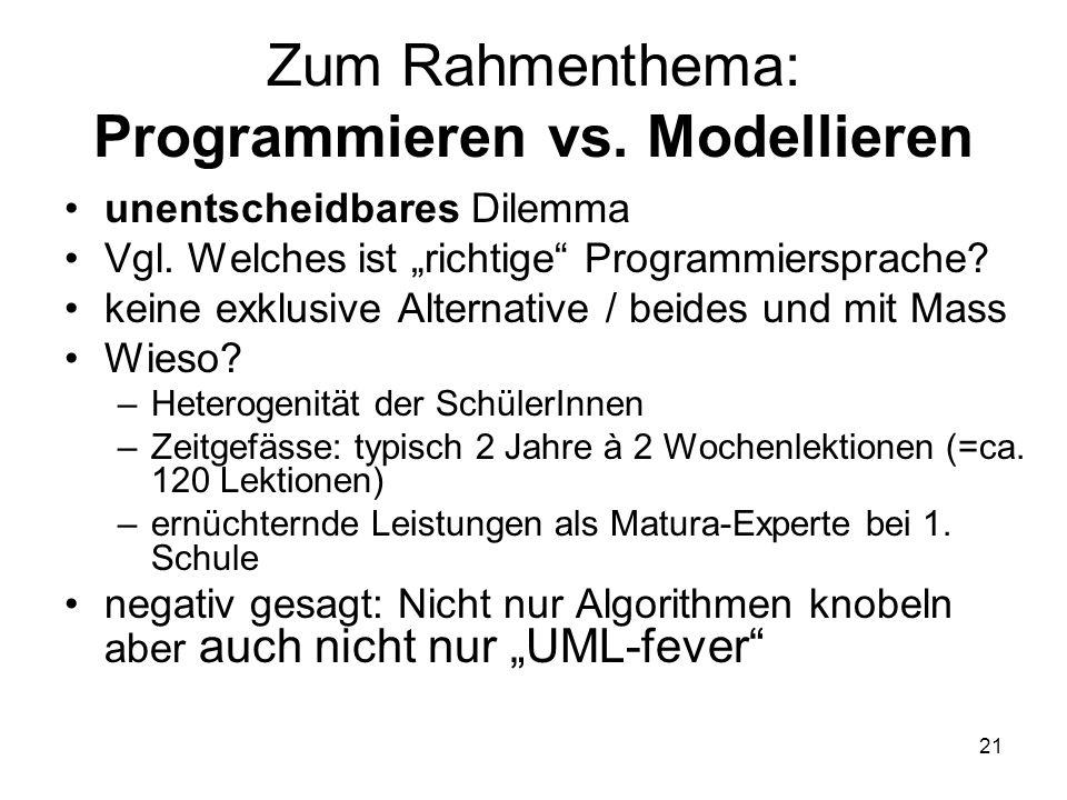 Zum Rahmenthema: Programmieren vs. Modellieren