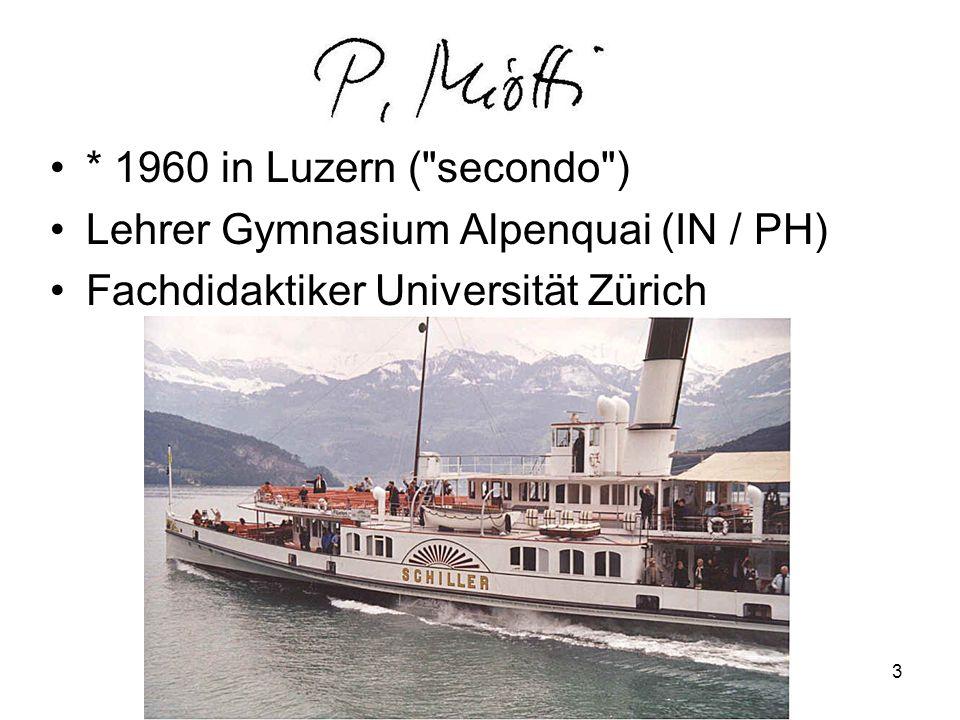 * 1960 in Luzern ( secondo ) Lehrer Gymnasium Alpenquai (IN / PH) Fachdidaktiker Universität Zürich