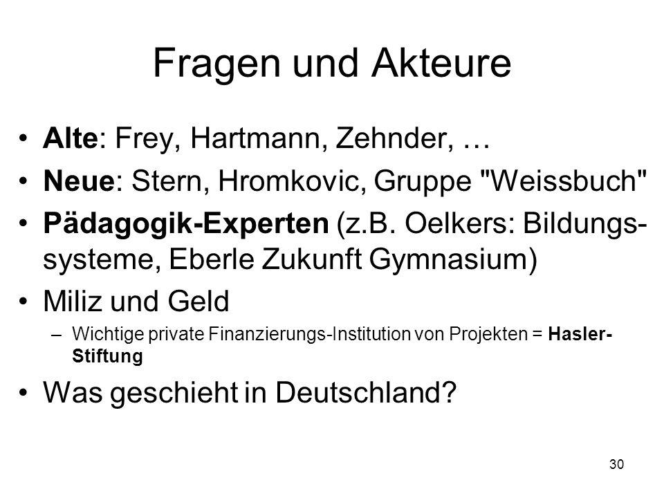 Fragen und Akteure Alte: Frey, Hartmann, Zehnder, …