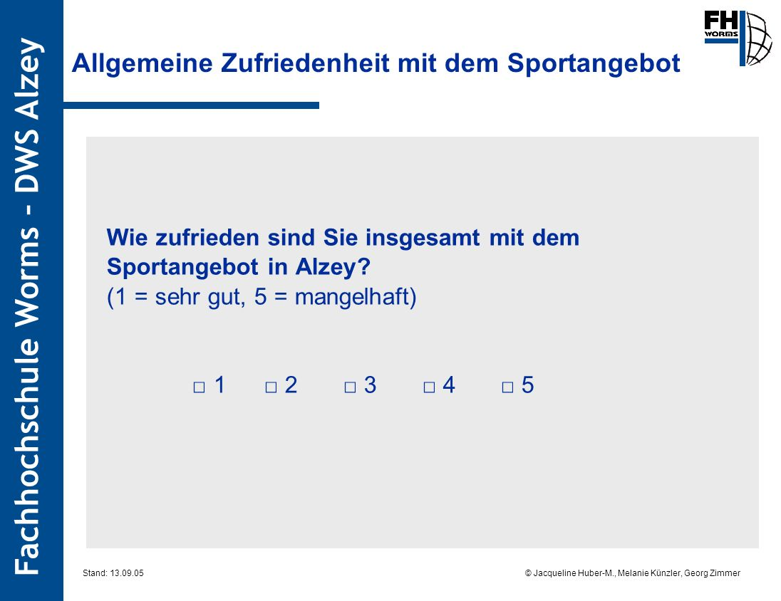 Allgemeine Zufriedenheit mit dem Sportangebot
